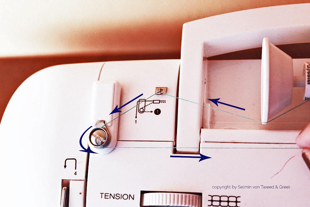 Tipps Nähmaschine einfädeln: Unterfaden aufspulen Fadenführung - Tweed & Greet