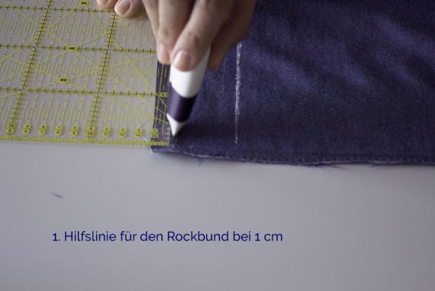 Anleitung Rock Lilly 1. Hilfslinie Rockbund TweedandGreet