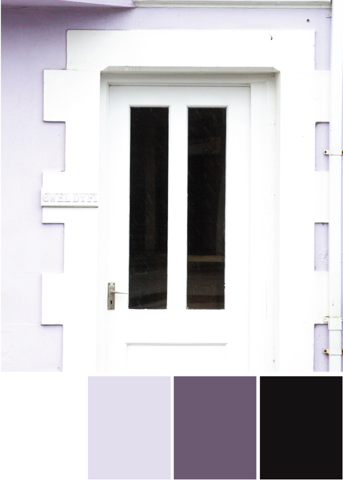 Farbkombinationen mit Weiß, Lila und Schwarz - Tweed & Greet