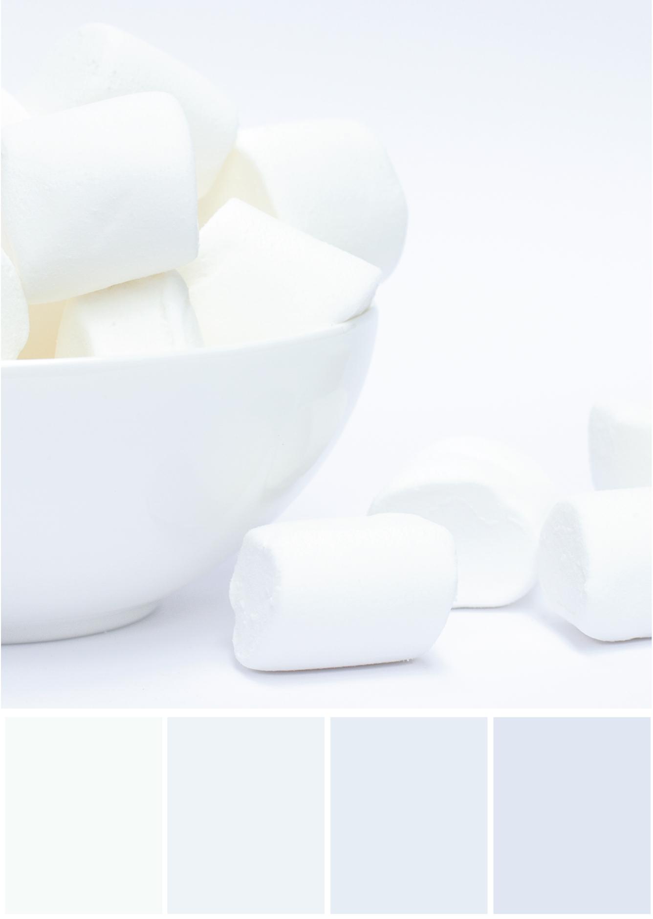 Farbkombinationen mit Weiß und Grau - Marshmallows - Tweed & Greet
