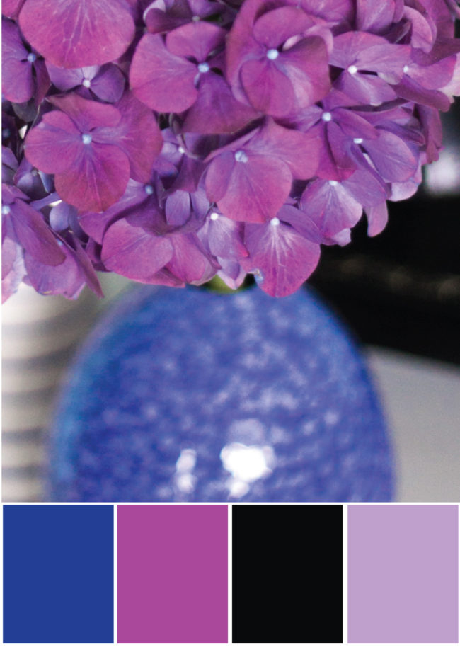 Farbpalette Farbkombination- Blau, Lila, Beere, Schwarz - Tweed & Greet
