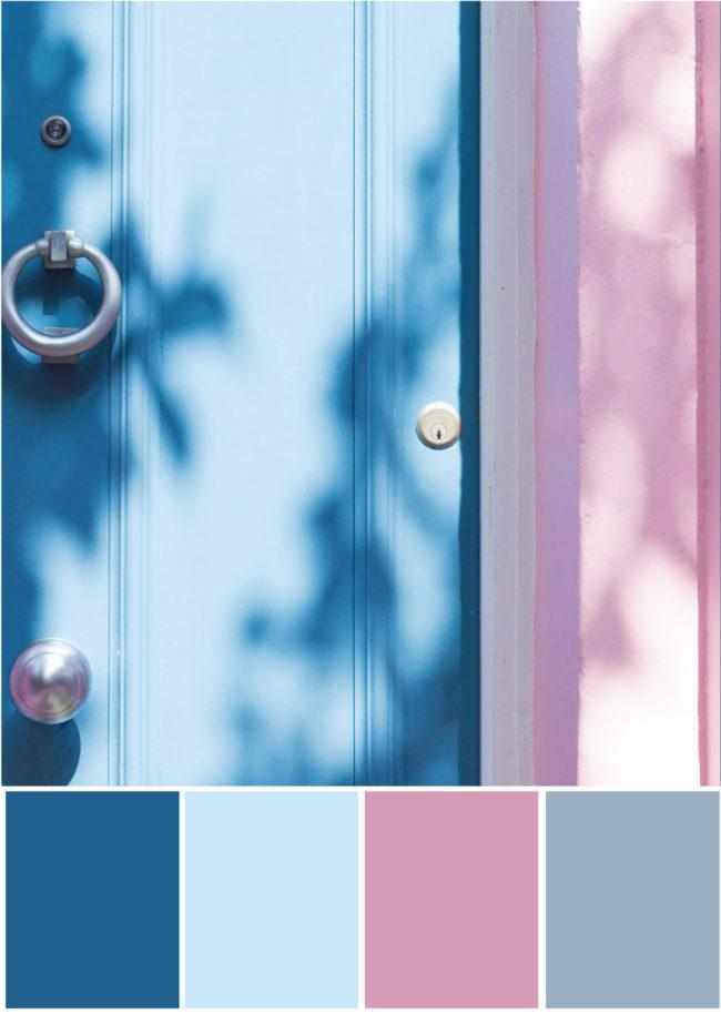 Farbpalette Farbkombination- Blau Rosa -Tweed & Greet