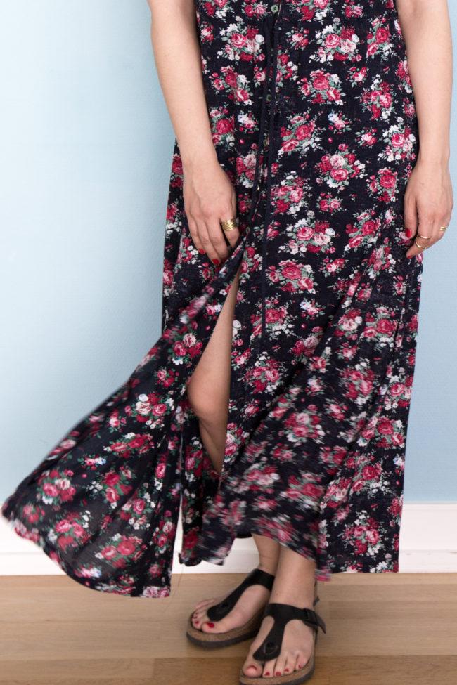 Schnittmuster Maxikleid nähen - Sommerkleid lang mit Blumenmuster - Reeta named Clothing - Tweed & Greet