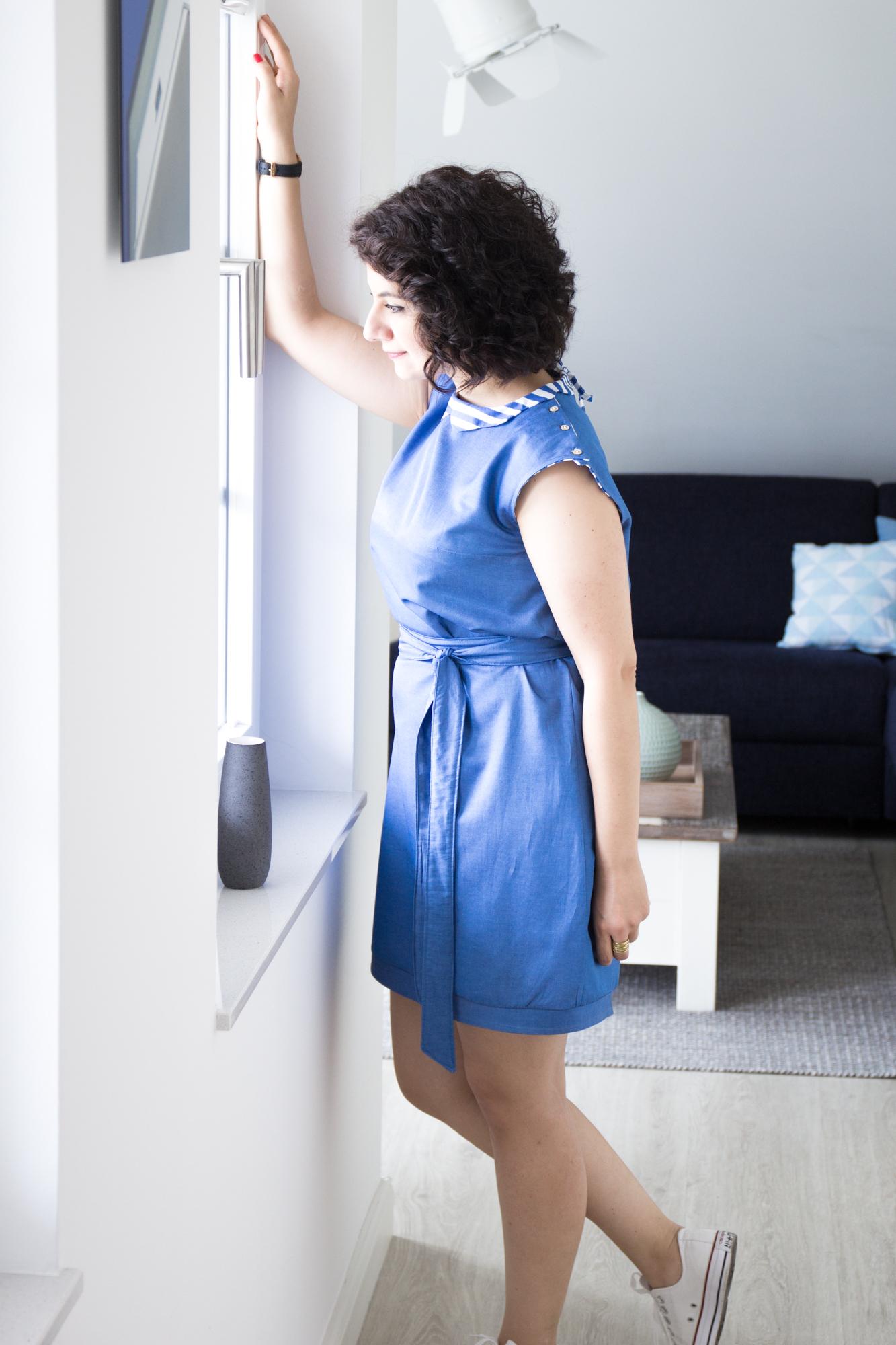 kleid austen blaues sommerkleid trifft auf oktobubikragen trifft auf streifen tweed greet. Black Bedroom Furniture Sets. Home Design Ideas