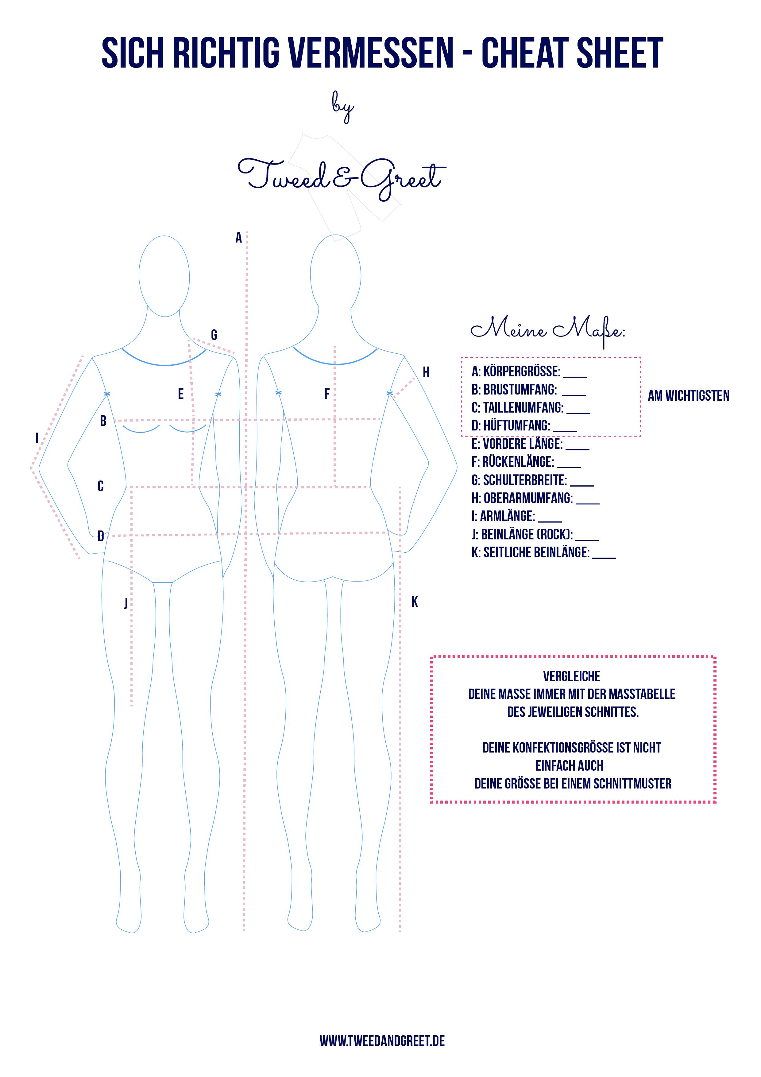 Richtig Maßnehmen vor dem Nähen - Tweed & Greet