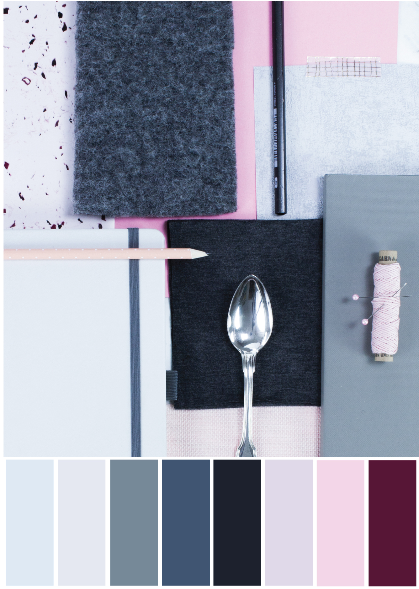 Farbpalette Grau-Rosa - Tweed & Greet