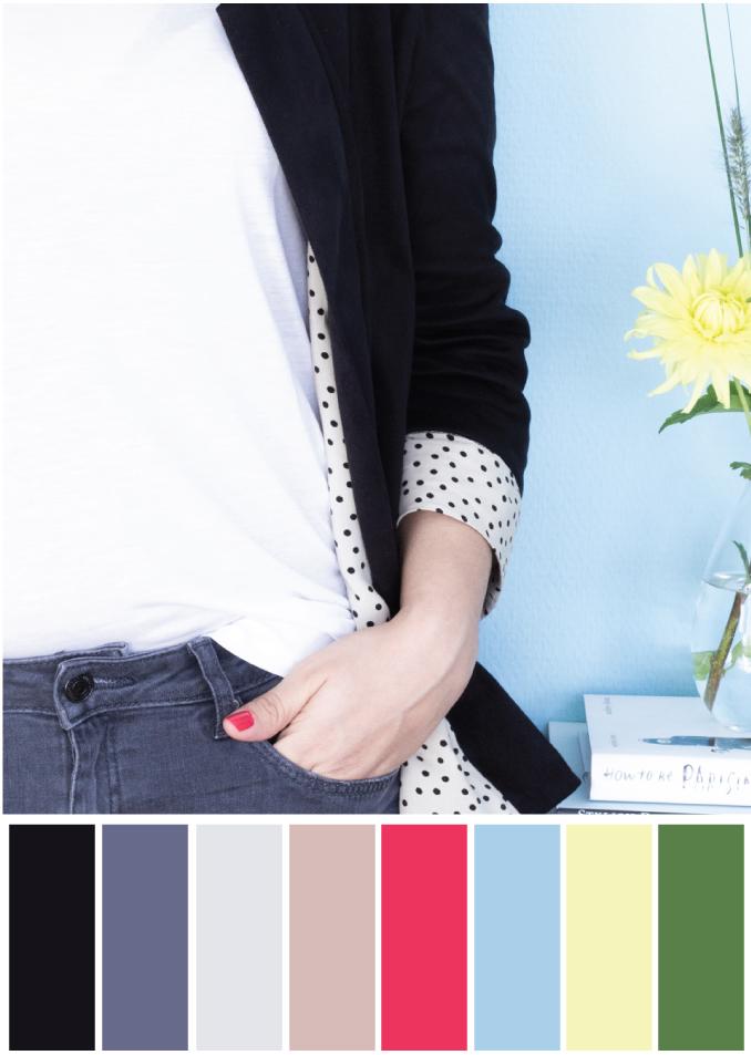 Farbkombination Schwarz Blau Gelb Grau - Tweed & Greet