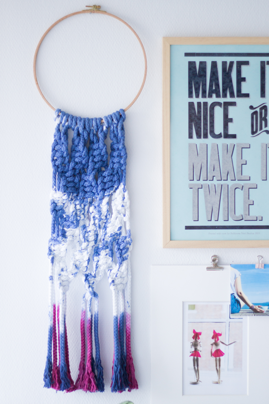 Makramee knüpfen - Traumfänger aus Kordeln und Stickrahmen - Makramee Wandschmuck - Tweed & Greet