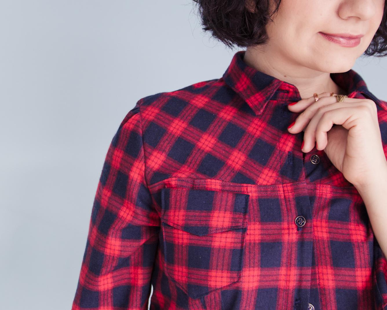 Schnittmuster karierte Bluse nähen - Rot karierte Bluse im Holzfällerstil - Rosa von Tilly & The Buttons Tweed & Greet-8