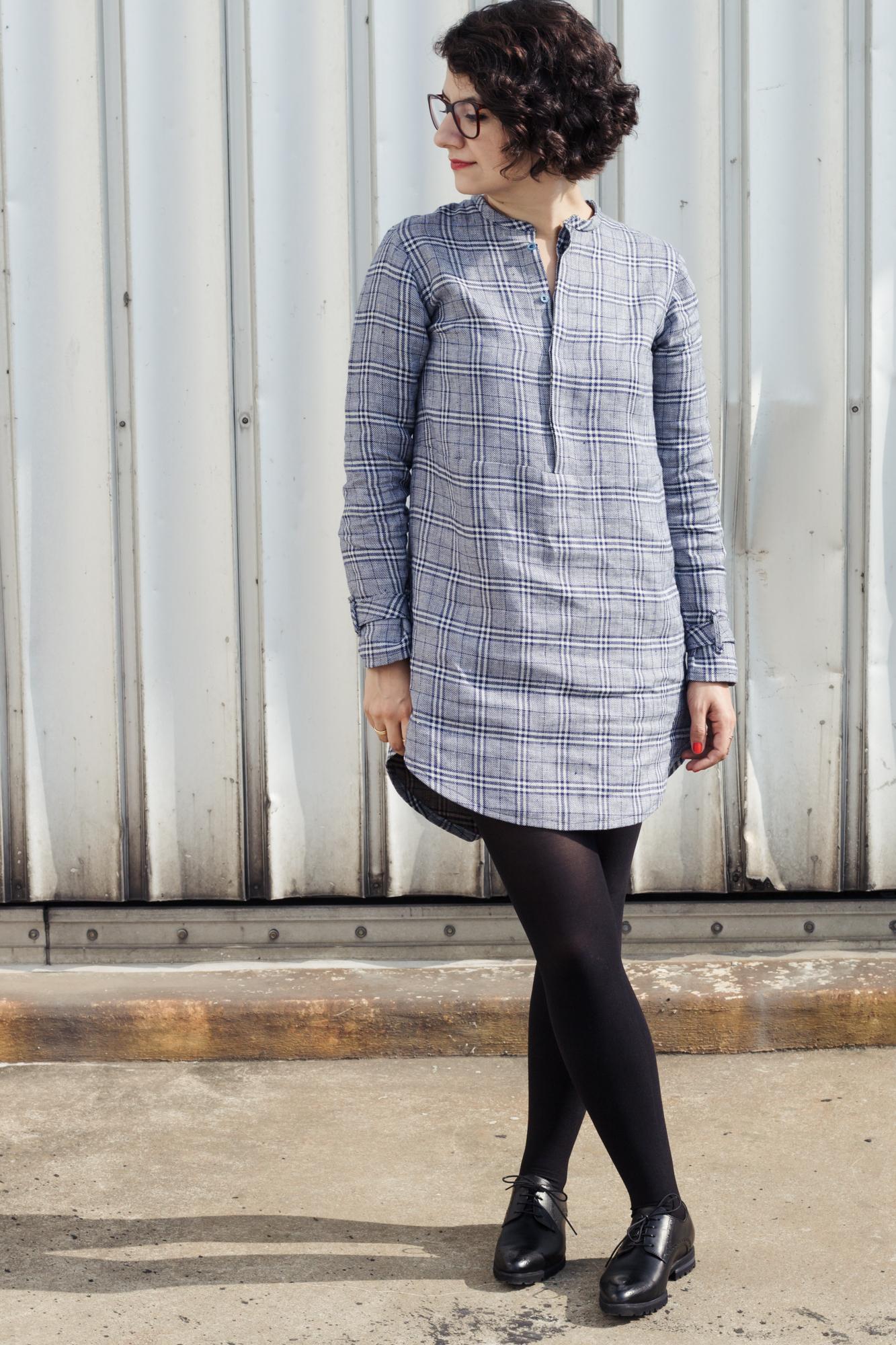 Schnittmuster Blusenkleid nähen Helmi Tunic Dress kariert - Tweed & Greet