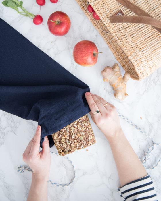 Brotbeutel nähen und Streifenshirt aus altem Kleid Upcycling - DIY Anleitung