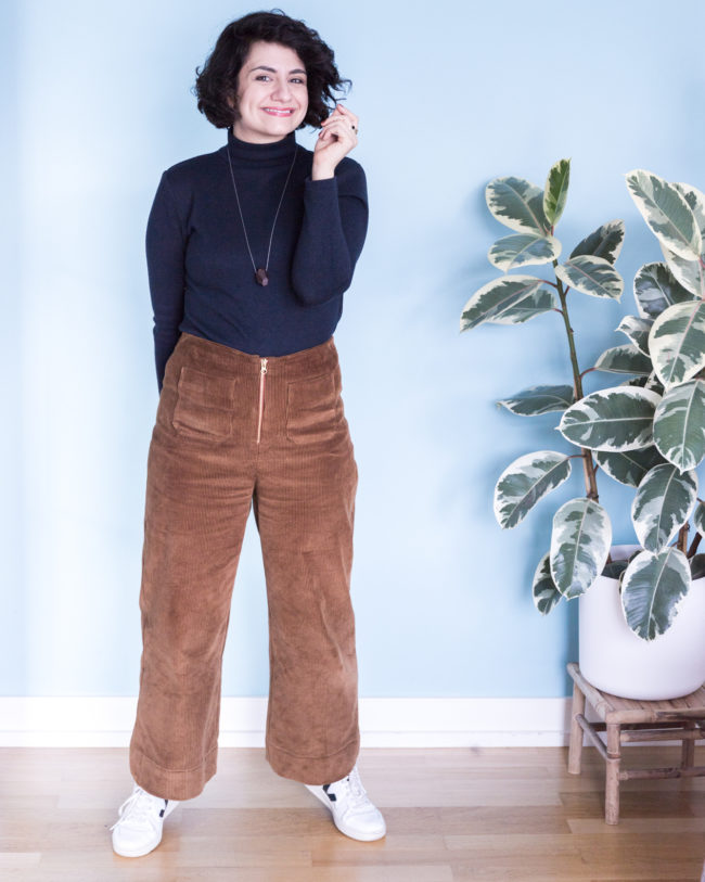Outfit Schnittmuster Rollkragenpullover Modular und Schnittmuster High Waist Hose Lola aus Cord Schnittduett