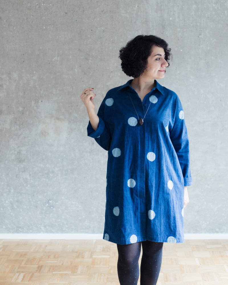 Oversize Blusenkleid nähen: Schnittmuster Blusenkleid Cocoon - Schnittduett