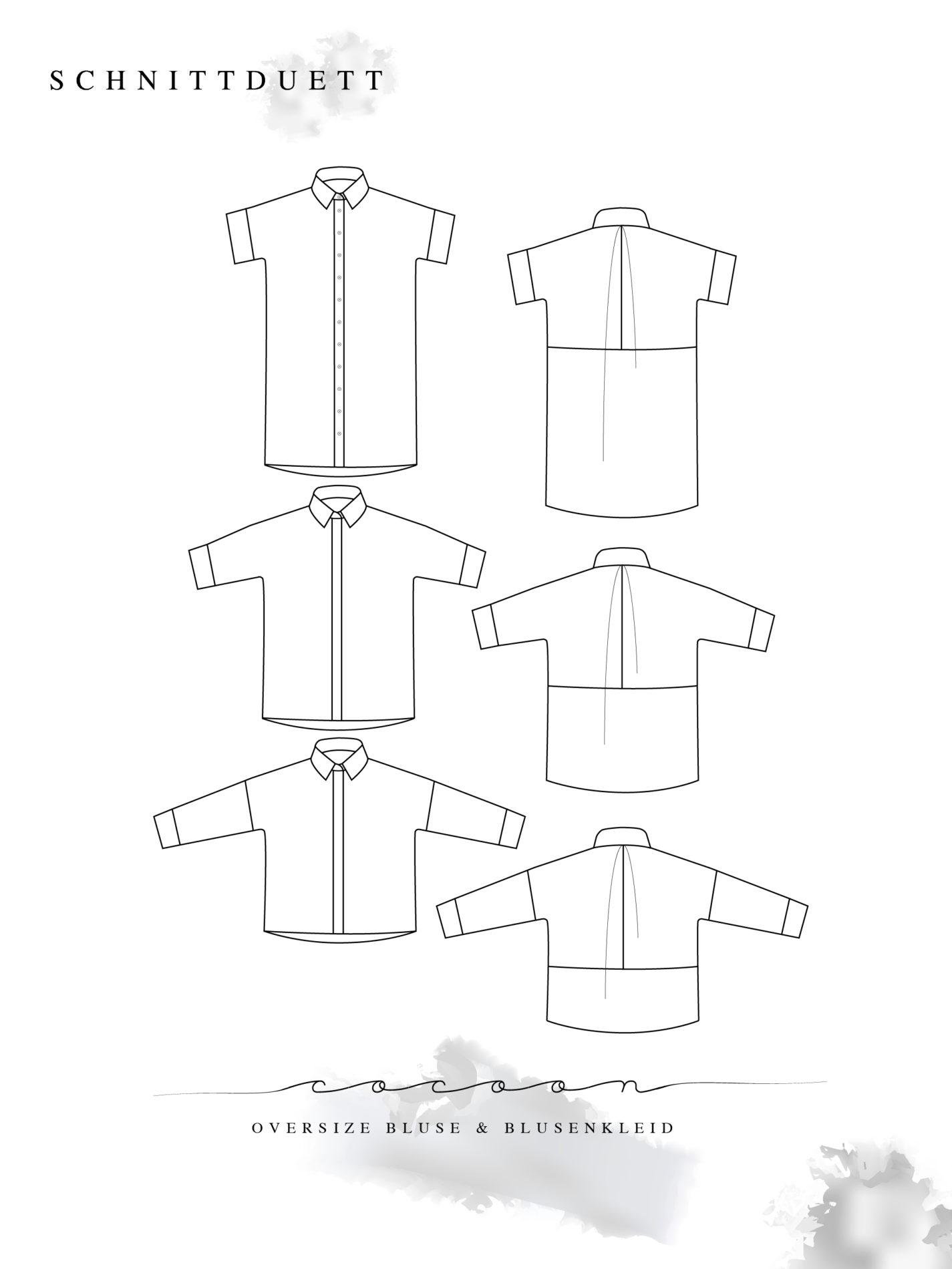 Bluse und Blusenkleid nähen: Schnittmuster Oversize Bluse und Blusenkleid Cocoon - Schnittduett